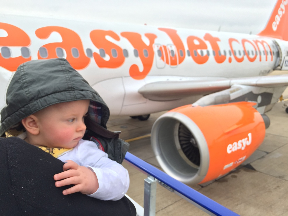 Picture of Harrison boarding easyJet flight to Spain